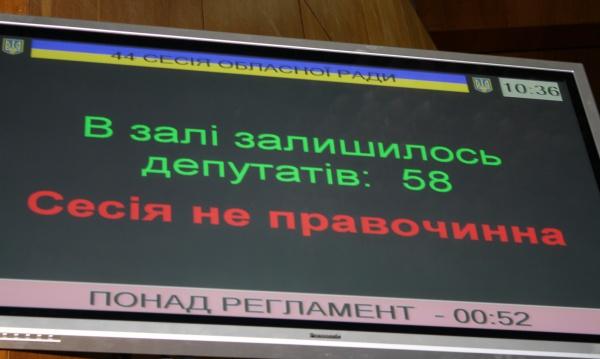 Сесія обласної ради не відбулася